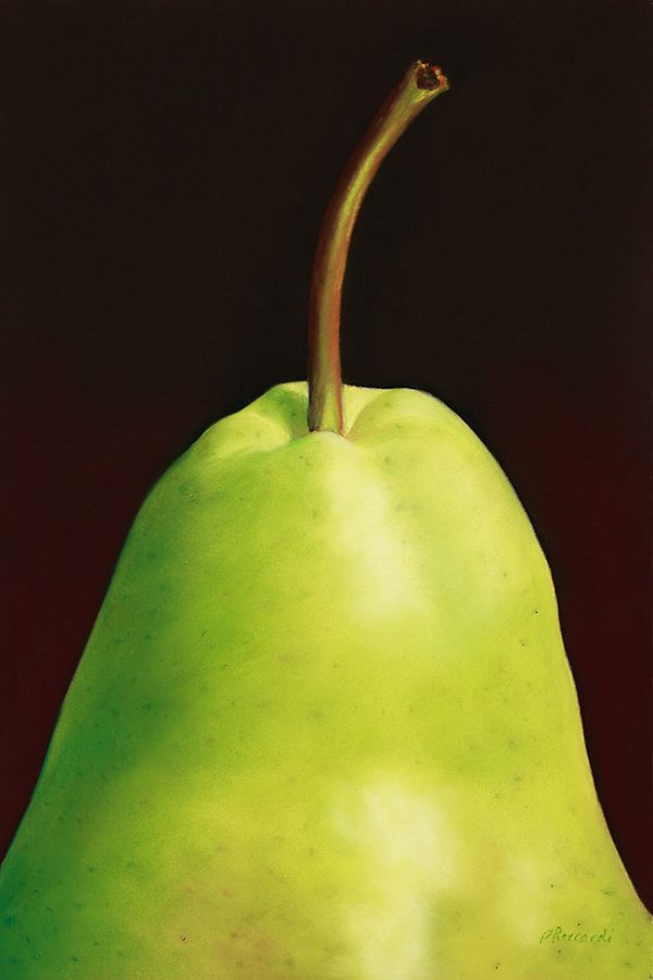 """Title: """"Green Pear"""". Pastel painting on paper of a pear against a dark background. Size: 8 inches by 12 inches. Available as fine art prints."""