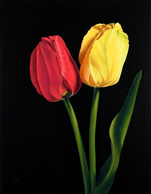 """""""Red and Yellow Tulips"""", Pastel Painting"""
