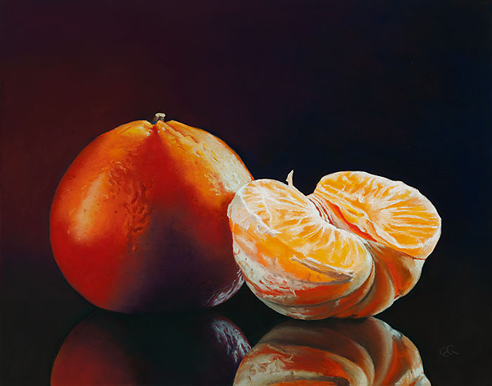 """Title: """"Tangerines"""". Pastel painting on paper of Tangerines against a black background. Size: 11 inches by 14 inches. Available as fine art prints."""